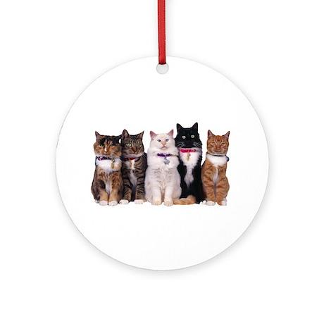 5 Cats Ornament (Round)