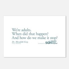 We're Adults - Grey's Anatomy Quote Postcards (Pac