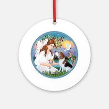 Angel Love & Beagle Rusti Ornament (Round)
