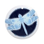 Crystal Blue Dragonfly Keepsake Round Ornament