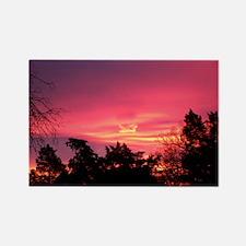 Pink Sunrise Rectangle Magnet