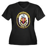USS WADSWORTH Women's Plus Size V-Neck Dark T-Shir