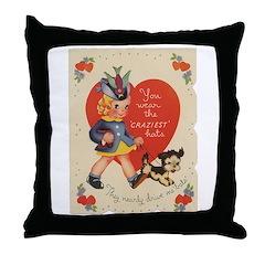 Crazy Hat Valentine Throw Pillow
