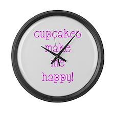 Cupcakes Make Me Happy Large Wall Clock
