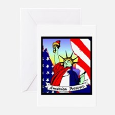 America Forever Statue Of Liberty Greeting Cards (