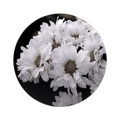 White Daisy Mums Ornament (Round)