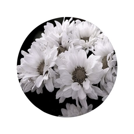 "White Daisy Mums 3.5"" Button"