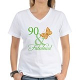 90 and fabulous Womens V-Neck T-shirts