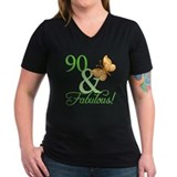 90 and fabulous Womens V-Neck T-shirts (Dark)