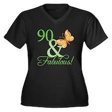 90 & Fabulous Birthday Women's Plus Size V-Neck Da