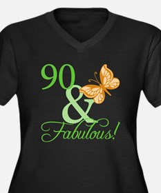 90 & Fabulous Birthday Women's Plus Size V-Neck Da