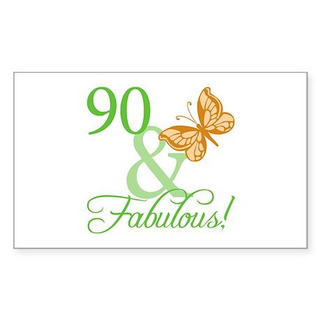 90 & Fabulous Birthday Rectangle Sticker