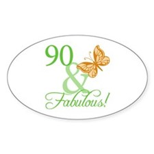 90 & Fabulous Birthday Oval Decal