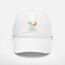 90 & Fabulous Birthday Baseball Baseball Cap