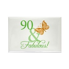 90 & Fabulous Birthday Rectangle Magnet