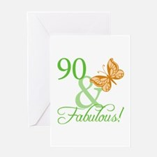 90 & Fabulous Birthday Greeting Card