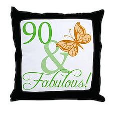 90 & Fabulous Birthday Throw Pillow
