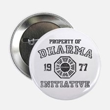 """Property of Dharma Distressed 2.25"""" Button"""