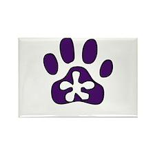 Purple Pawprint Rectangle Magnet