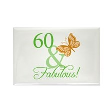 60 & Fabulous Birthday Rectangle Magnet (100 pack)