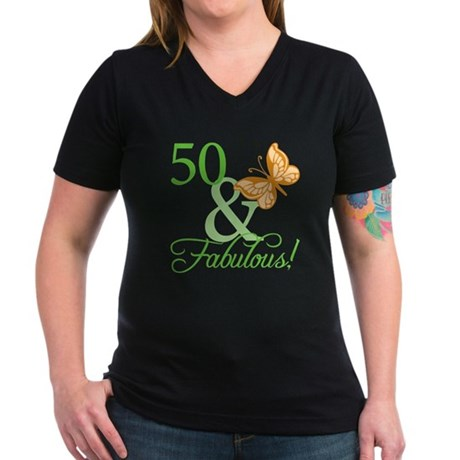 50 & Fabulous Birthday Women's V-Neck Dark T-Shirt