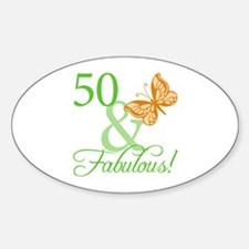 50 & Fabulous Birthday Oval Decal
