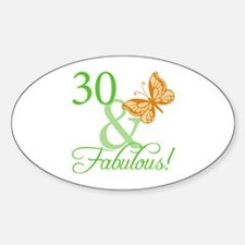30 & Fabulous Birthday Oval Decal