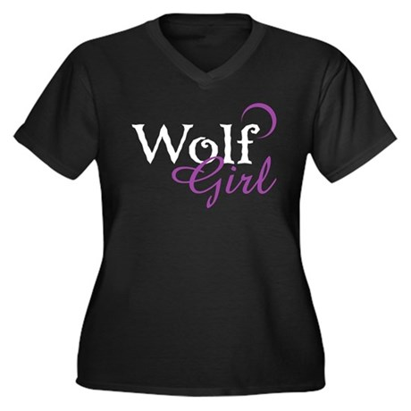 Twilight Wolf Girl Women's Plus Size V-Neck Dark T