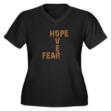 Cute Hope over fear Women's Plus Size V-Neck Dark T-Shirt
