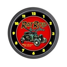 Rat Rod Speed Shop - neon Wall Clock