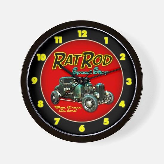 Rat Rod Speed Shop - neon Wall Clock