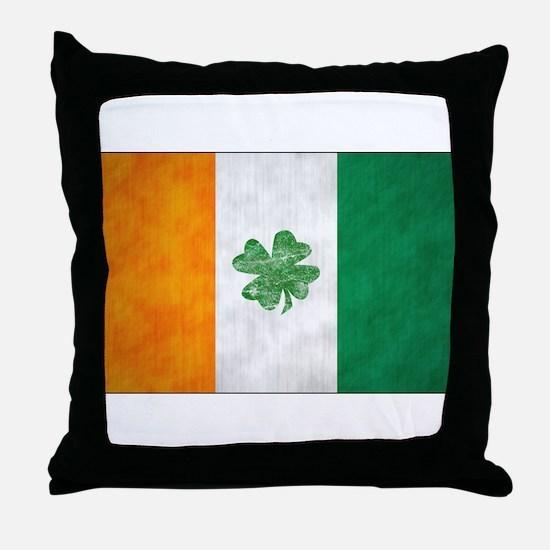 Irish Shamrock Flag Throw Pillow
