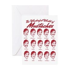 World of Mustaches Greeting Card