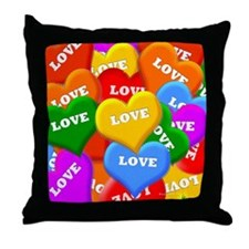 Plenty of Colorful Hearts Throw Pillow