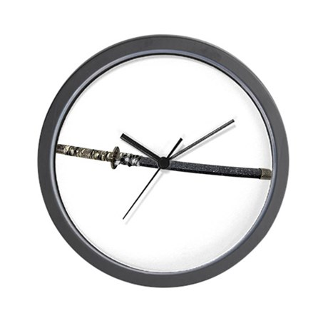 Samurai Sword Side View Wall Clock