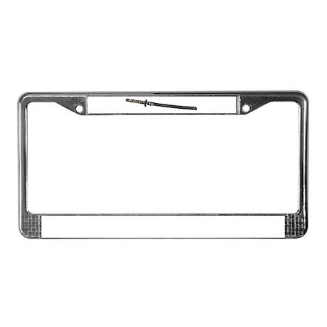Samurai Sword Side View License Plate Frame