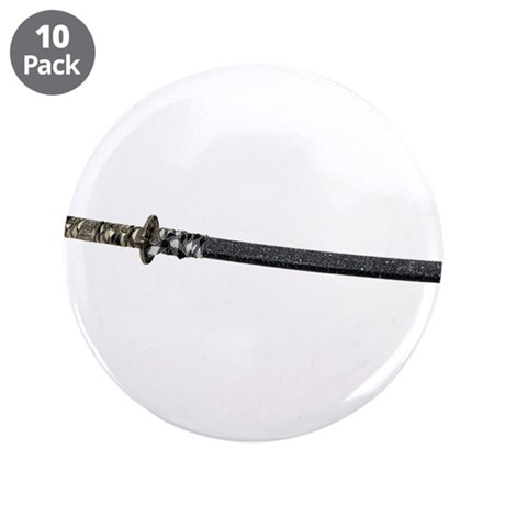 "Samurai Sword Side View 3.5"" Button (10 pack)"