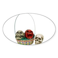 Skull Basket 3 Oval Decal