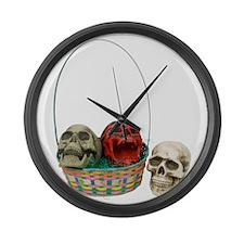 Skull Basket 3 Large Wall Clock