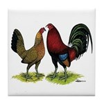 American Gamefowl Pair Tile Coaster