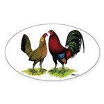 American Gamefowl Pair Oval Sticker