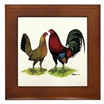 American Gamefowl Pair Framed Tile