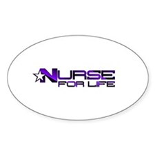 Nurse For Life Star Oval Decal