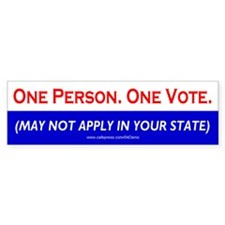 """One Person. One Vote."" Bumper Bumper Sticker"