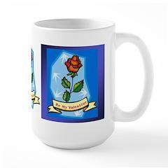 Be My Valentine Rose - Blue Large Mug