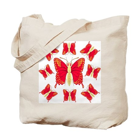 Red Dragon Swallowtails Tote Bag