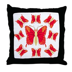 Red Dragon Swallowtails Throw Pillow