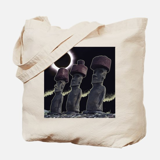 Easter Island Eclipse-Moai Tote Bag