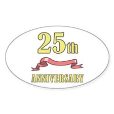 25th Wedding Anniversary Oval Decal