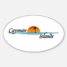 Cayman Islands Sunset Oval Decal